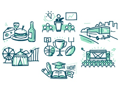 Sketchy Event Types festival conference tour sports fair icons food nashville hand illustration