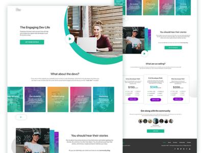 Web page for developer courses website
