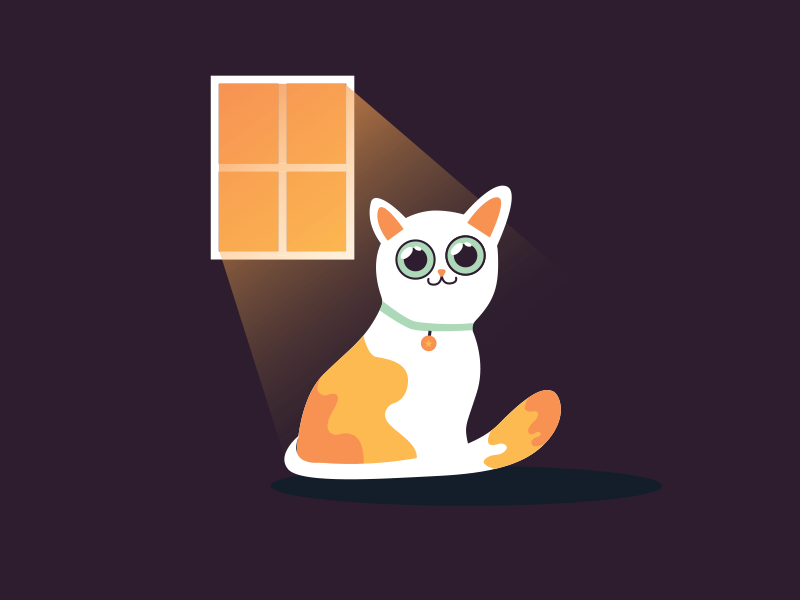 The cat next to the window. digital graphic art graphic cats cute animals cat logo eyes window shadow vector light cute animal branding design logo orange clean illustration cat