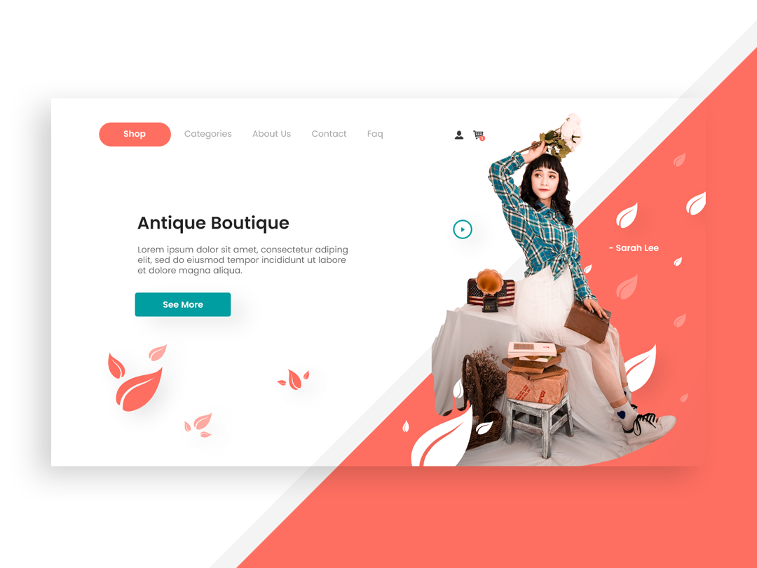 Antique Boutique branding pantone clothes illustration design typography colors app white space website web page landing page landing landing page web-page landing ux ui page clean web