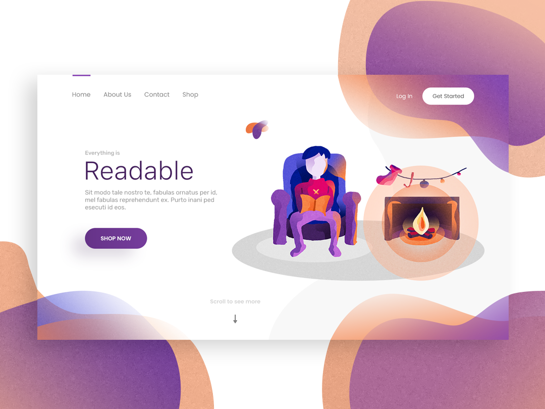 Readable landing page landing pantone purple vector branding illustration design typography colors white space website web page landing page web-page landing ux ui page clean web