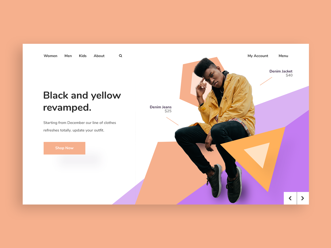 Black And Yellow Instagram app purple typography branding design vector illustration pantone colors white space website web page landing page web-page ux ui landing page clean web