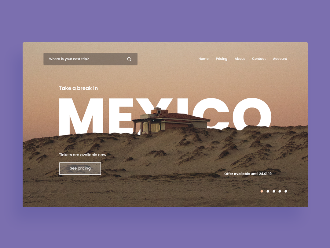 Mexico Trip travel app trip travelling travel branding app landing page landing typography design website web page landing page white space web-page landing ux page web ui clean
