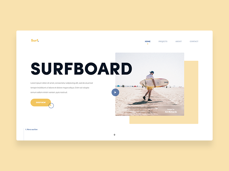 Surfboard icon surf sport yellow colors branding landing page web page typography design app white space landing website web-page page ux web ui clean