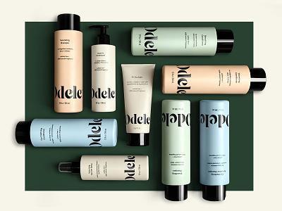 Odele typography design hair care hair bottle type packaging