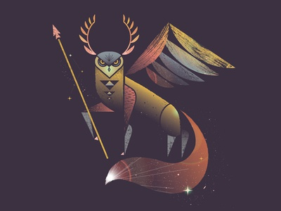 Epic animal geometric owl antlers leaf fox fox tail spear galaxy stars illustration