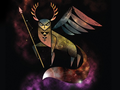Moreepic animal geometric owl antlers leaf fox fox tail spear galaxy stars illustration