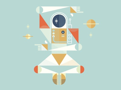 Space Out space astronaut cosmic geometric shapes illustration