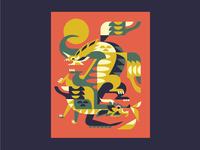 Dragons dragon illustration geometric folklore mythology myth