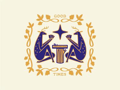 Cribbage vector branding deer logo symbol logo illustration cribbage beer crest badge deer