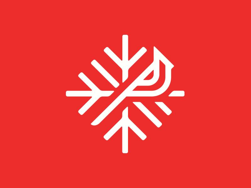 Birdie cardinal bird christmas snowflake logo