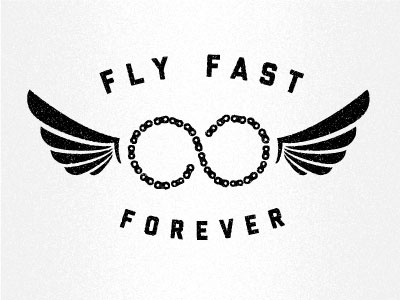 Fly Fast Forever bike infinity logo wings cycling