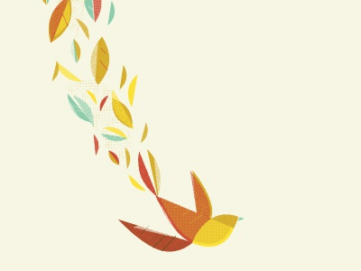 Falling bird illustration geometric leaves