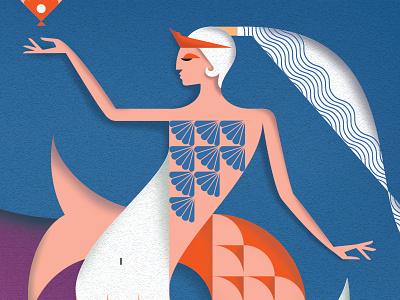 Mermaid shading geometric layers mermaid beastiary folklore mythology illustration