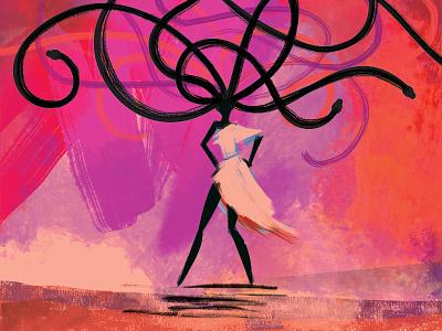 Medusa beastiary mythology illustration medusa snake