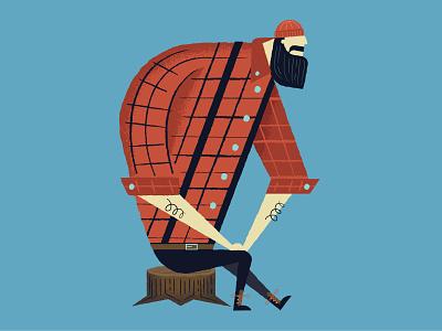 Paulie B plaid illustration lumberjack paul bunyan