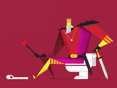 Porcelain Throne toilet king geometric illustration
