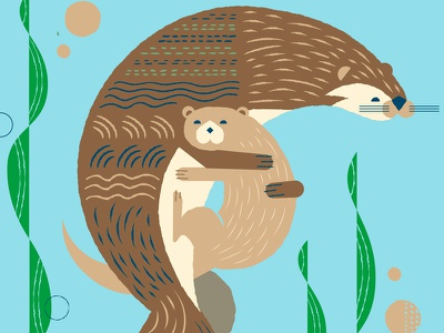 Otter hugs pattern animals illustration hug otter