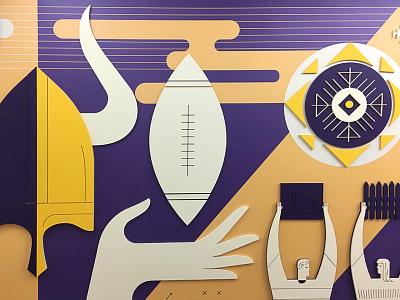 Vikes sports football installation interior geometric illustration mural vikings