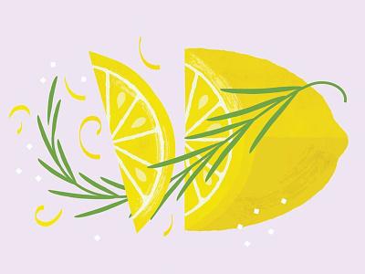 Lemon Rosemary geometric illustration fruit rosemary lemon