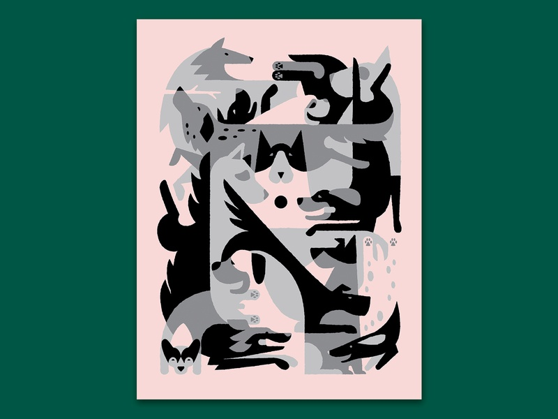 Kerfluffle geometric posters for parks poster dogs illustration