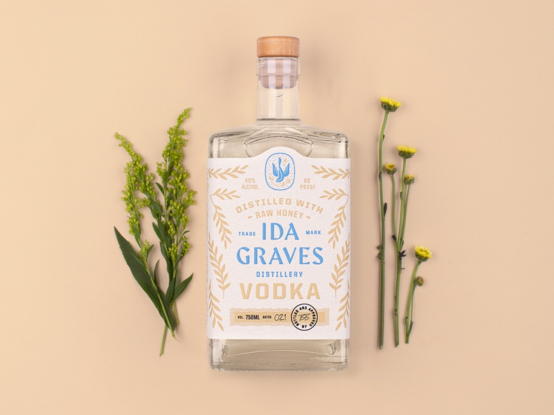Ida Graves Vodka typography branding vodka packaging spirits