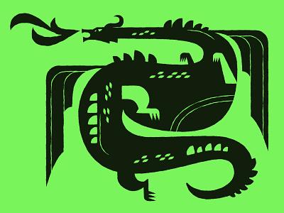 Dragon geometric illustration mythology beast