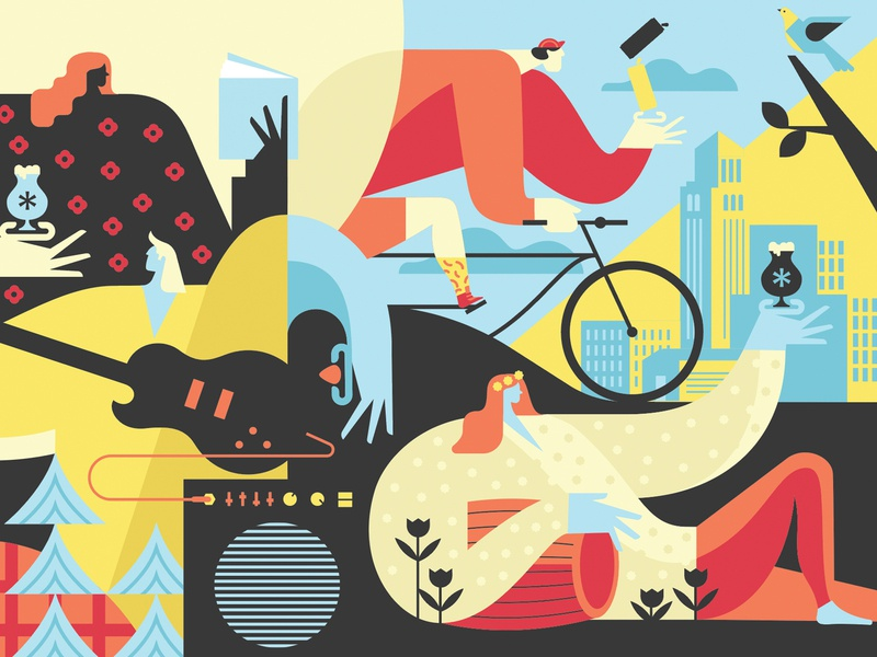 Brewery Mural geometic people mural illustration beer