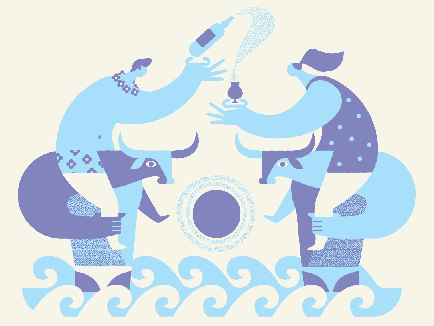 Party Time people geometric beer illustration minotaur