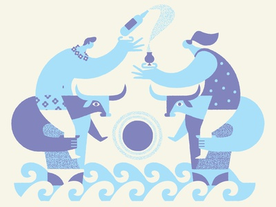 Party Time people geometric beer illustration minotaur