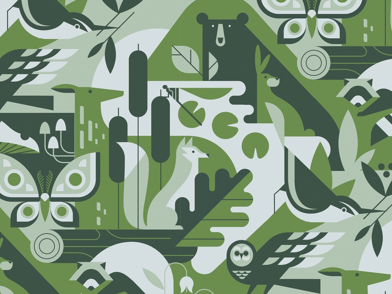 Critter Pattern pattern wallpaper dragonfly mushroom owl moth deer fox bear bird forest geometric illustration