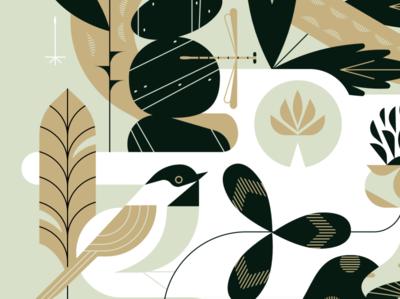 Lil' guyz nature bird geometric illustration