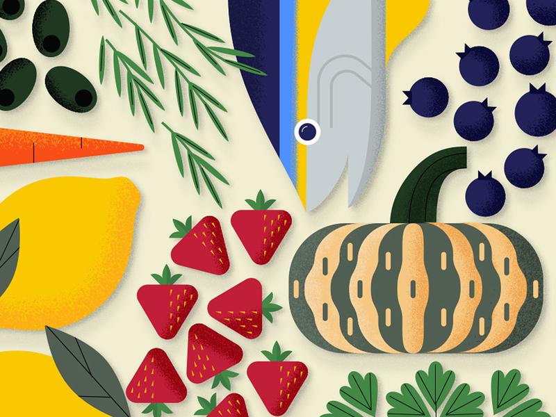 Food Stuff olive blueberry squash lemon strawberry tuna fish grocery food illustration illustration food and drink food