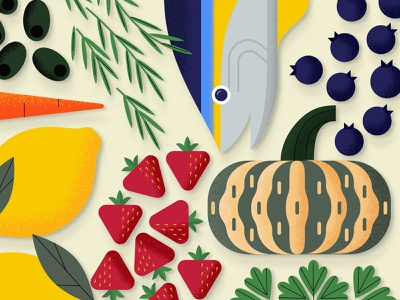Food Stuff olive blueberry squash lemon strawberry tuna fish grocery food illustration illustration food and drink food