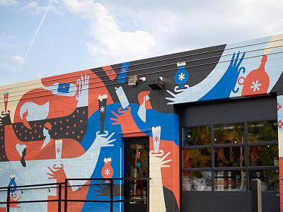 Thesis Exterior Mural murals beer branding people illustration mural
