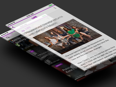 iOS 7 Concept News Section / Article View iphone ios 7 ios7 flat design menu icons android