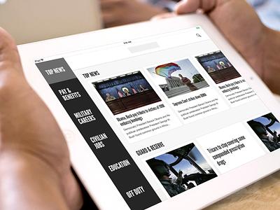 iPad Design / Government Concept iOS 7 retina ipad iphone ios 7 6 news menu simple flat design