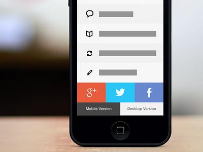 Mobile Web iOS 7 Bottom social share ios 7 mobile web design mock concept twitter facebook icon