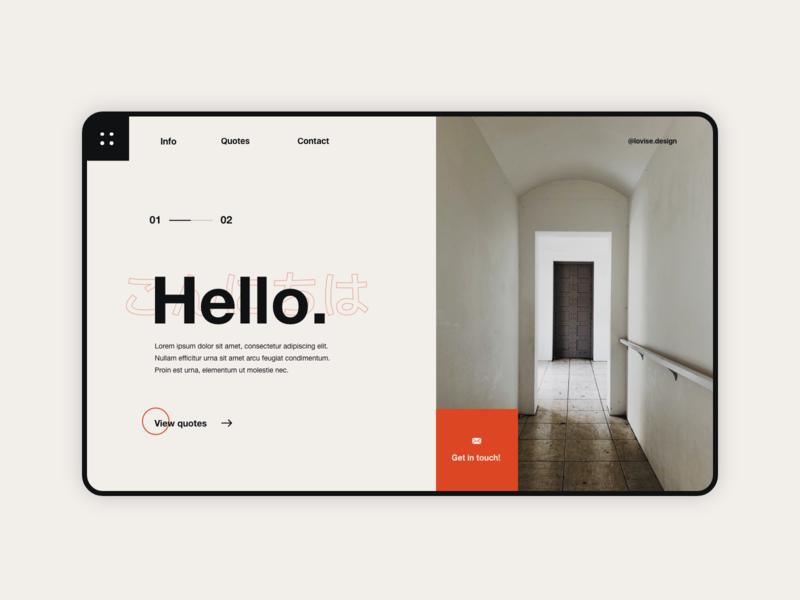 Hello. - Landing Page UI