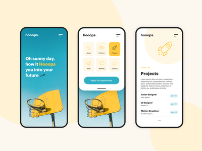 Hooops Mobile Concept dailyui sun blue basketball yellow colorful color palette minimalist modernism modernist web webdesign ui typography design color modern mobile design mobile ui mobile