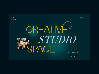 Creative Studio Space - Landing Page typeface manimal dailyuichallenge color dark ui after effects template animation art typography webdesign web design white space modern minimalist creative motion graphic uiux ui ui design landing page
