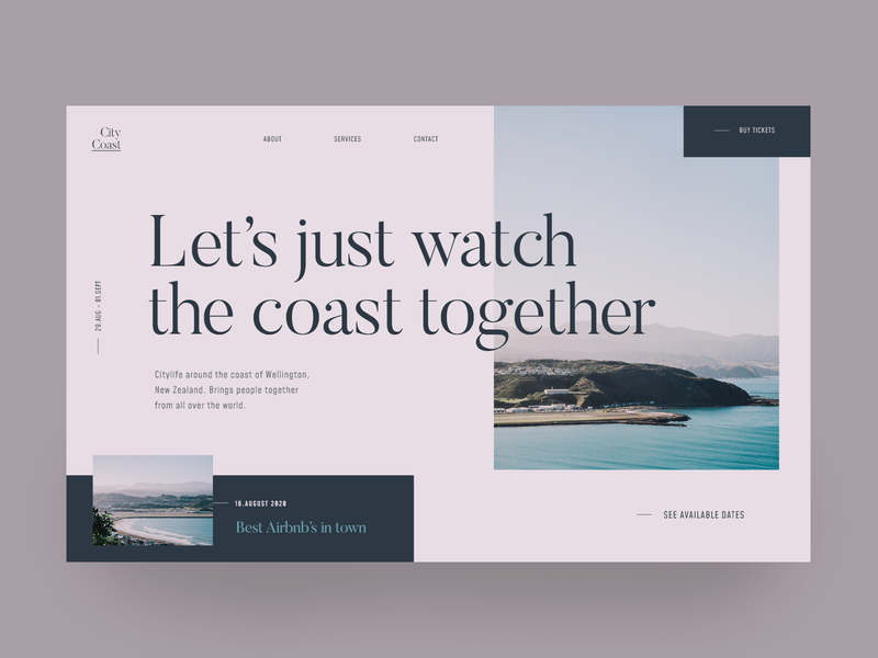 City Coast Landing Page typo uiuxdesign interaction interface webdesigner uidesign uiux new zealand coast modernism minimalist design web design landing page color palette webdesign ui typography modern color