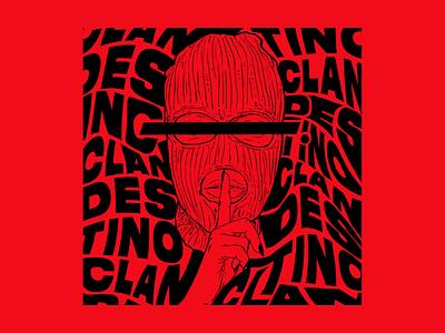 SILENCE - illustration for Bar Clandestino photoshop lettering illustration bar clandestine clandestino secret balaclava silence