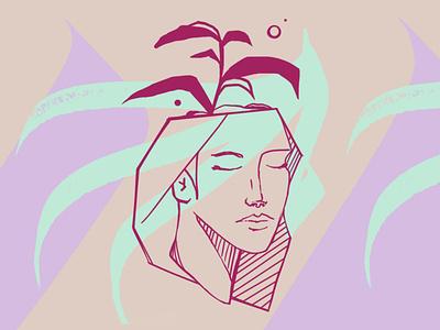 Planthead Girl drawing ilustração photoshop art girl illustration illustration girl plant