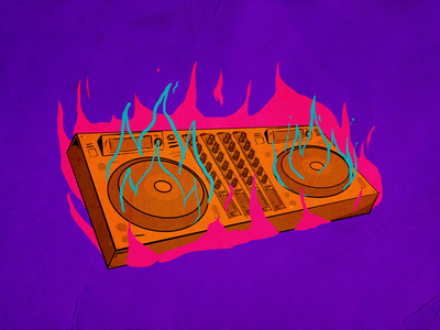 CDJ on fire - illustration