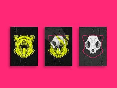 Cat Skull Posters Illustration