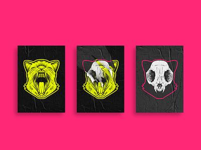 Cat Skull Posters Illustration photoshop gato caveira cats ilustration poster art lambe lambe poster design poster skull cat