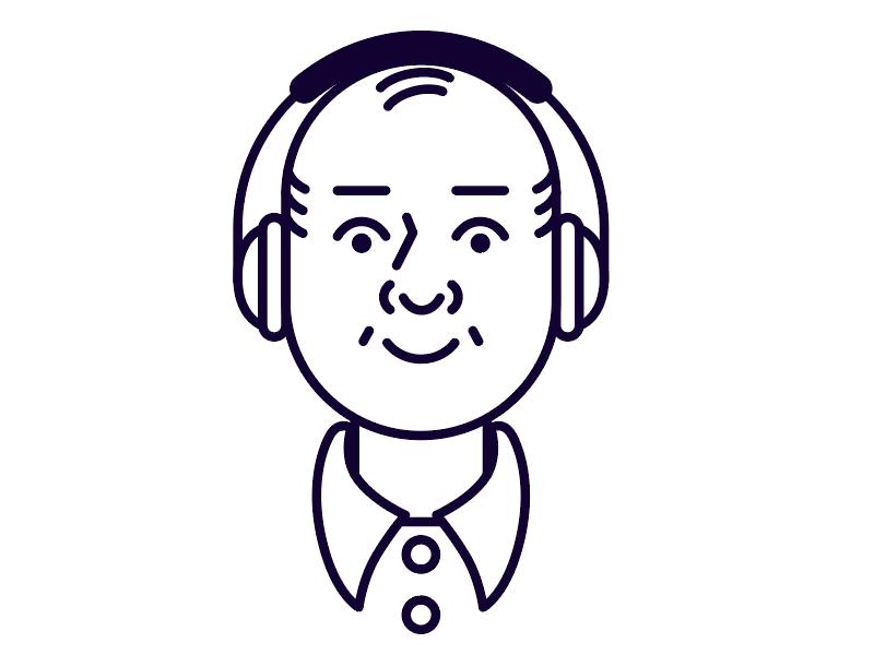 Little Cutie Dad happy simple man cute illustrator adobe drawing listening headphones bald line portrait