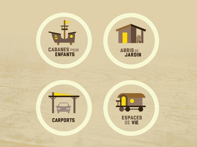 """Icons for sections for """"La Cabanerie"""""""