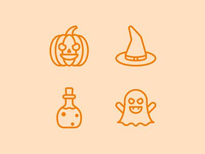 Halloweeeen 🎃 design pumpkin head cute creepy potion witch pumpkin ghost orange halloween set icons icon
